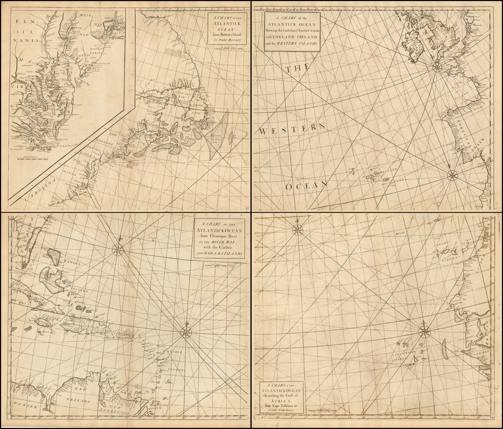 (4 sheet chart of the Atlantic--Large Inset of Chesapeake & Delaware & NYC Harbor) Chart of the Atlantic Ocean from Buttons Island To Port Royall / . . . Oronoque River To The River May / . . . Coast of Africa from Cape Teffalana to Cape Formosa /  . . . Shewing the Coast from ye Texel to C By Edmund Halley / Nathaniel Cutler