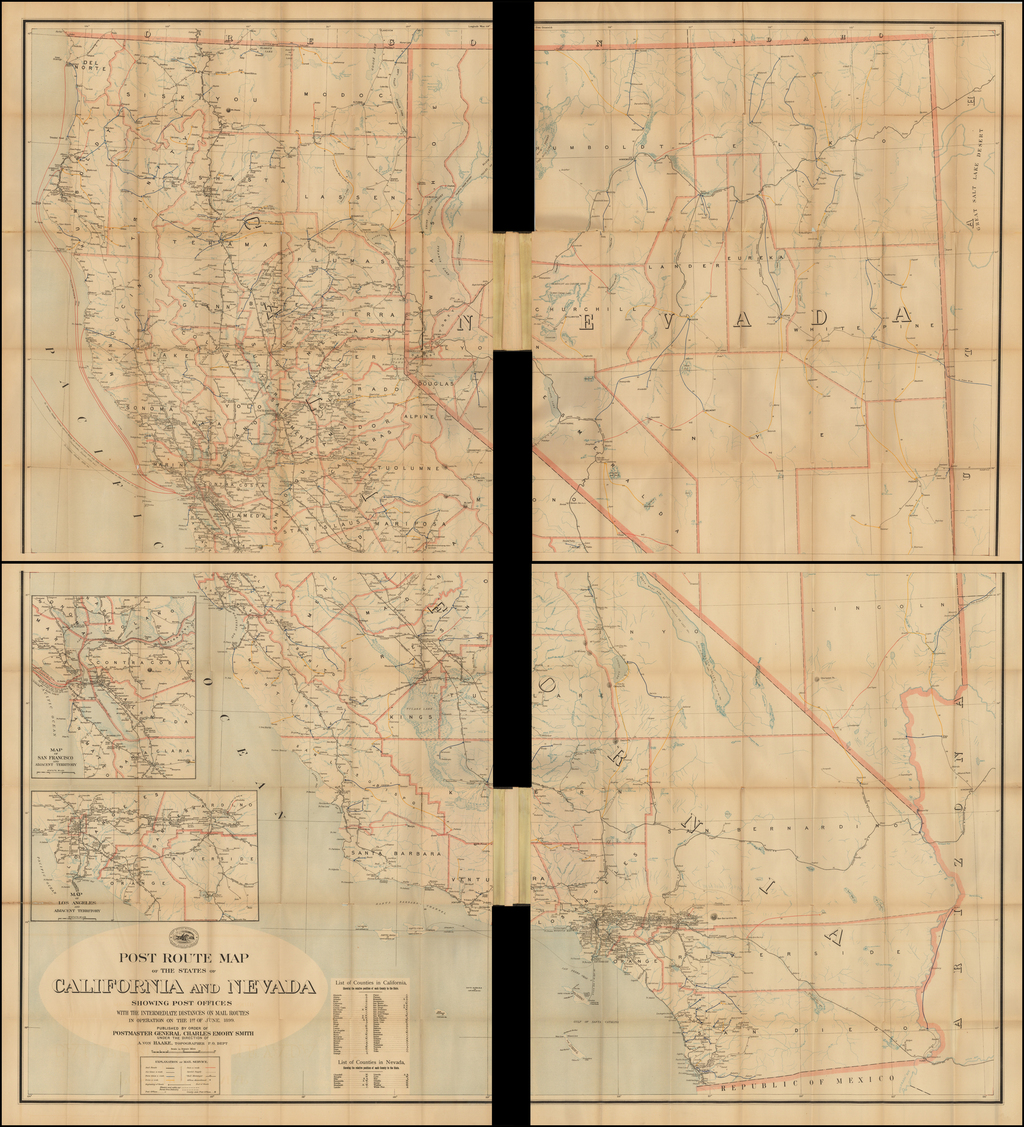 Post Route Map of The States of California and Nevada Showing Post Offices with the Intermediate Distances on Mail Routes In Operation on the 1st of June, 1899 . . .   By U.S. Post Office Department