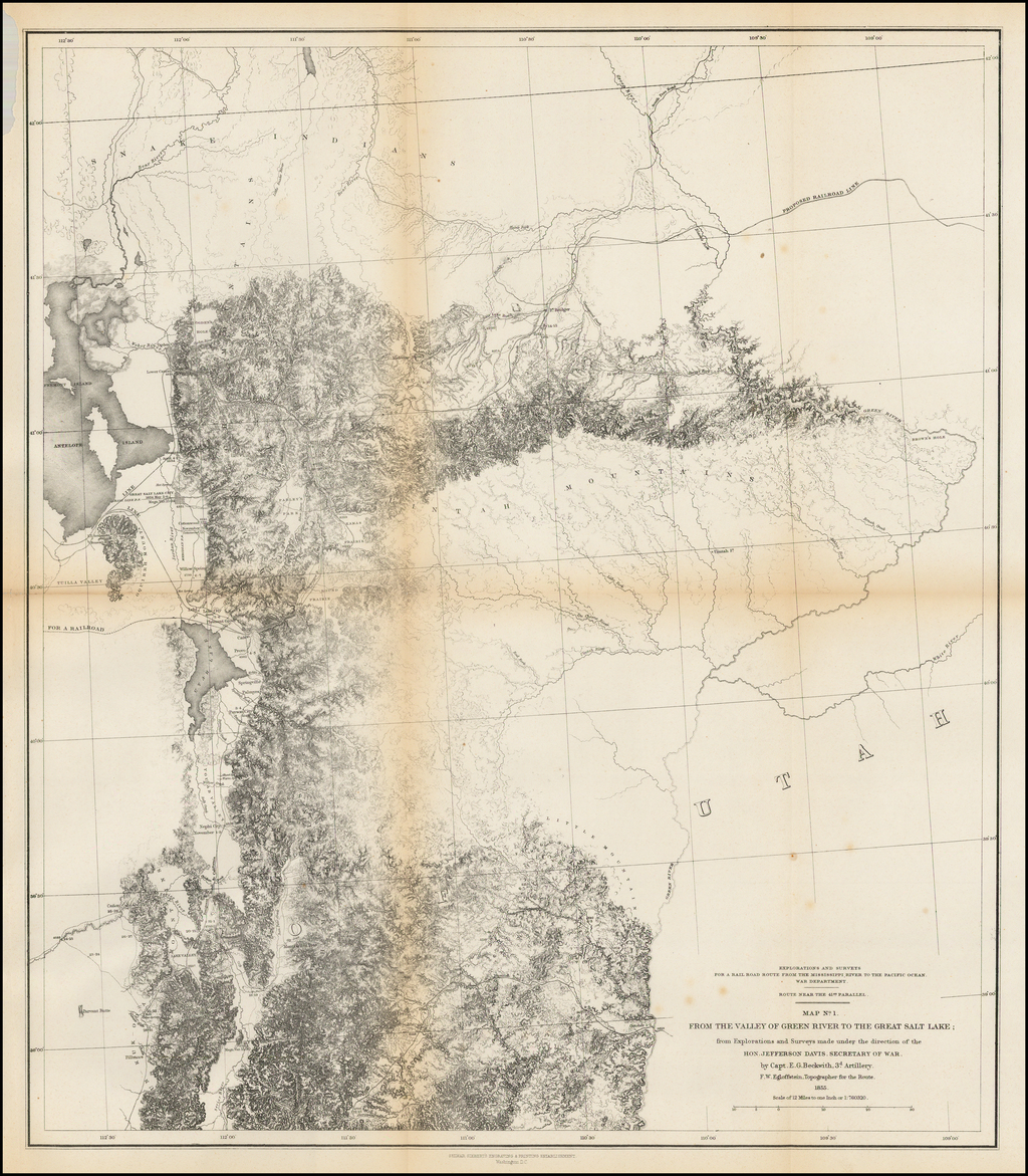 Map No. 1 From The Valley of Green River To The Salt Lake;  from Explorations and Surveys maade under the direction of the Hon. Jefferson Davis, Secretary of War. by Cap. E.G. Beckwith, 3d Artillery.  F.W. Egloffstein, Topographer for the Route.  1855 By U.S. Pacific RR Surveys