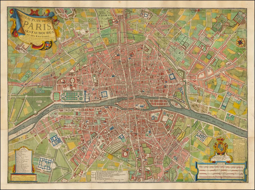Nouveau Plan De Paris Ses Faubourgs et ses Environs . . . 1763 By Louis Charles Desnos