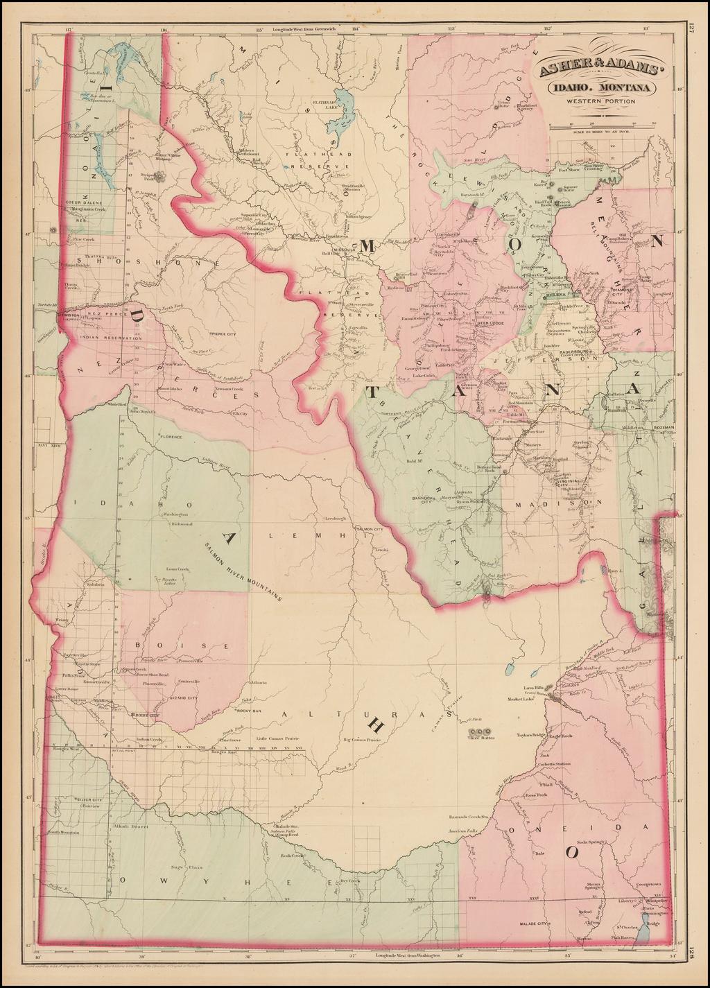 Asher & Adams' Idaho.  Montana Western Portion By Asher  &  Adams