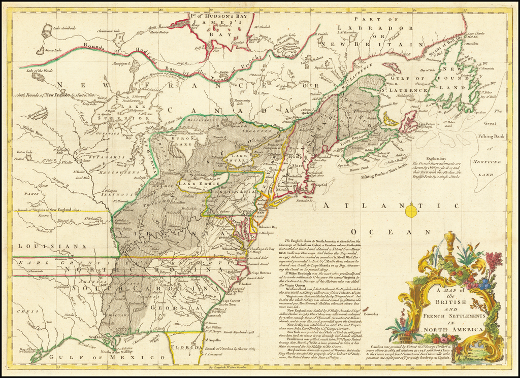 A Map of the British and French Settlements in North America By Universal Magazine / J. Hinton