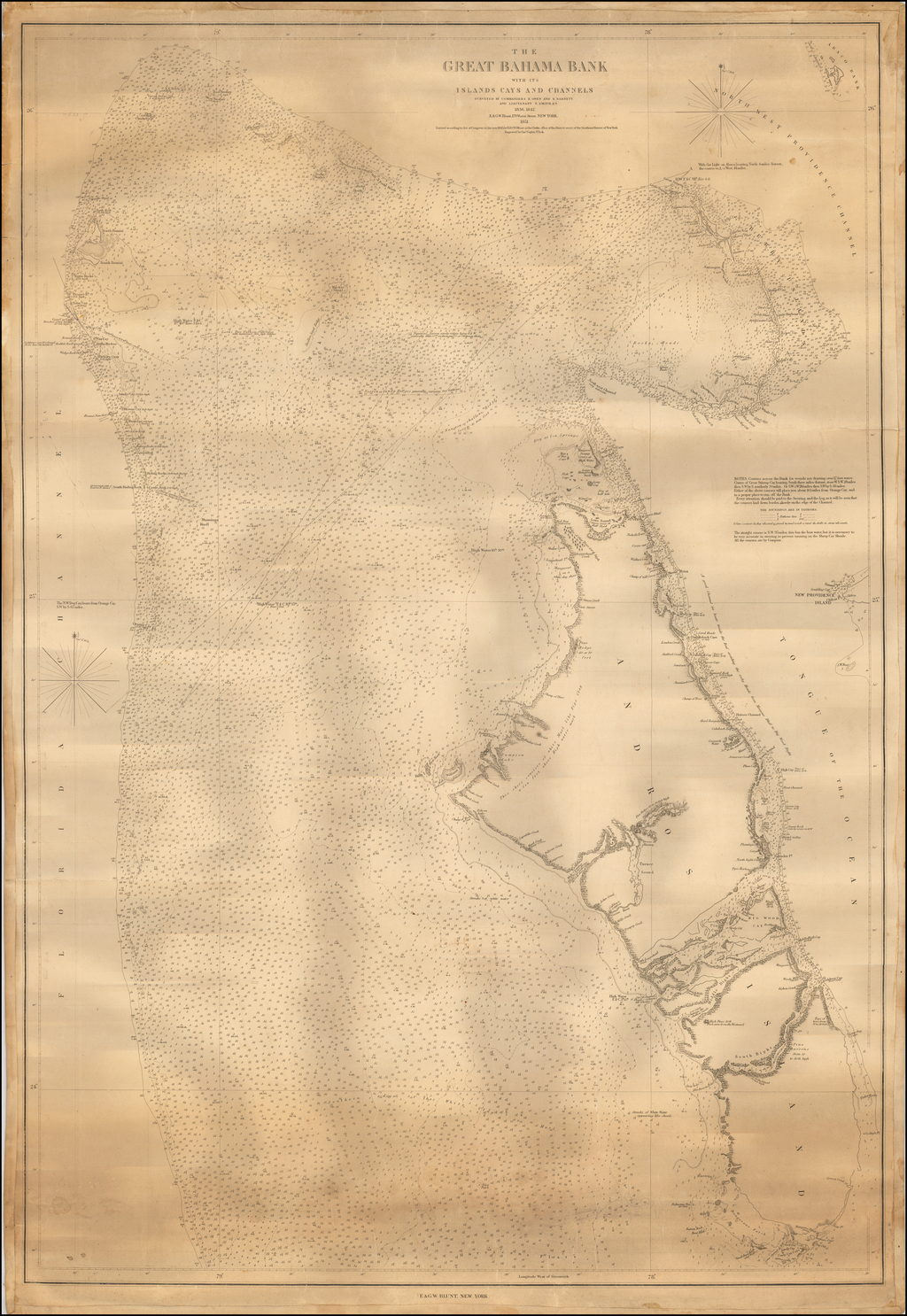 The Great Bahama Bank with its Islands Cays and Channels Surveyed By Commanders R. Owen and E. Barnett By E & GW Blunt
