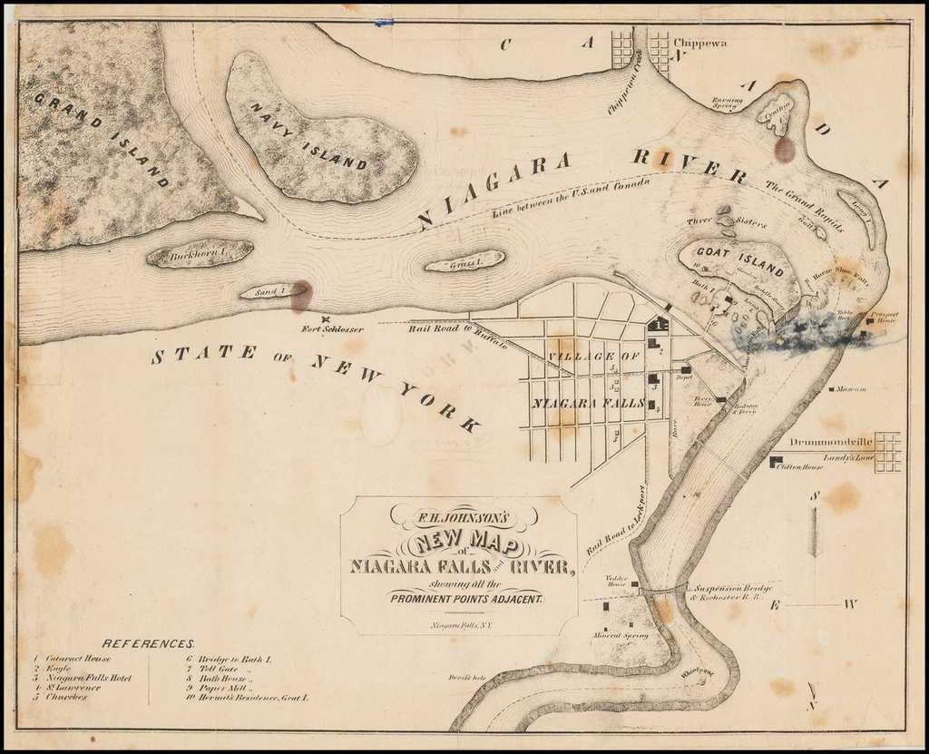 F. H. Johnson's New Map of Niagara Falls and River, showing all the Prominent Points Adjacent By F. H. Johnson