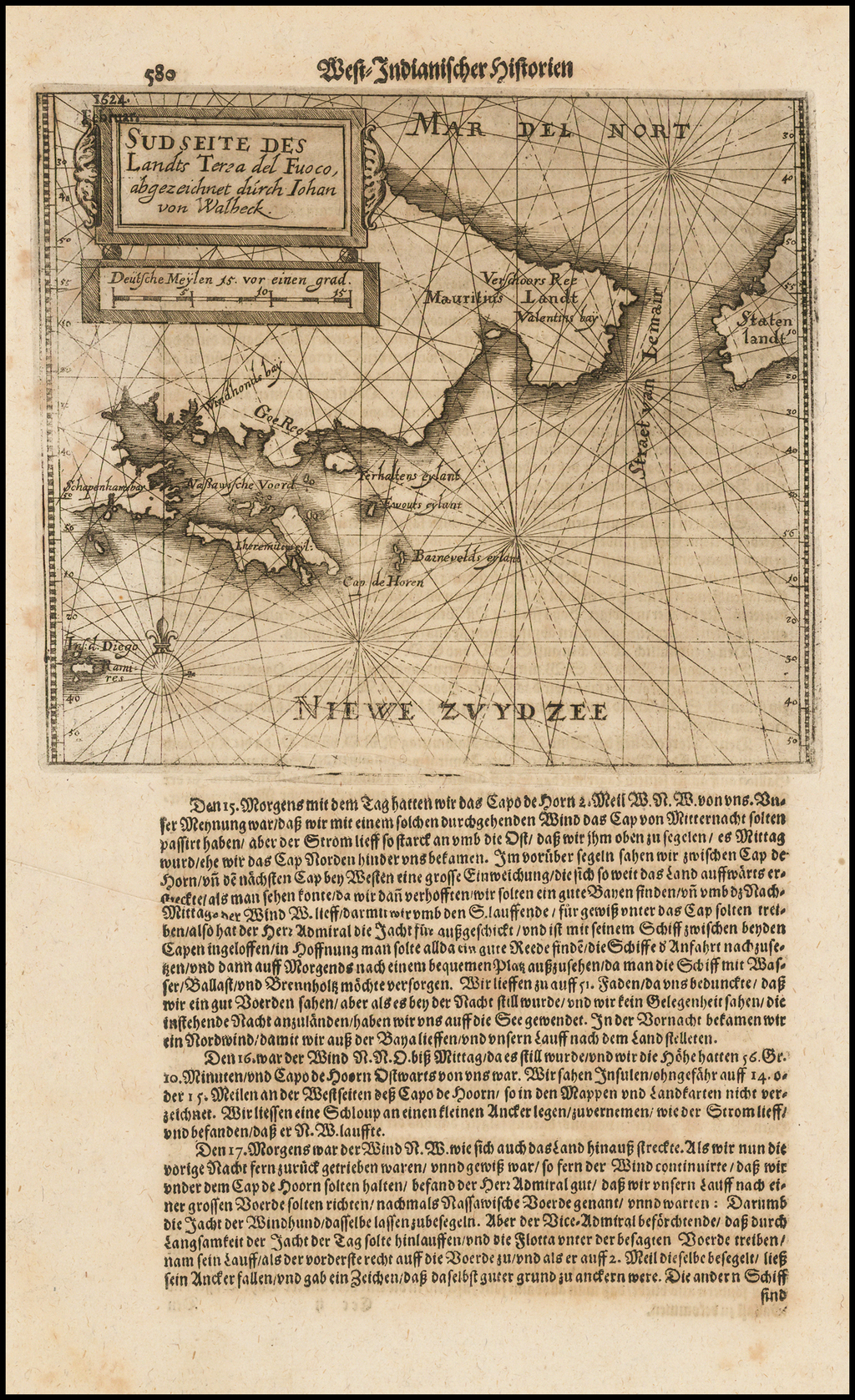 Sud Seite Des Landts Terza del Fuoco, abgezeichn et durch Iohan von Walbeck By Theodor De Bry