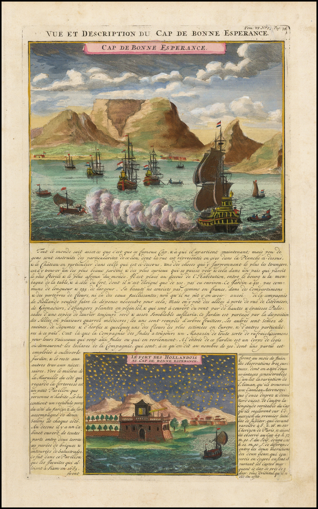 Vue et Description du Cap de Bonne Esperance. Le Fort de Bonne Esperance des Hollandois au Cap By Henri Chatelain