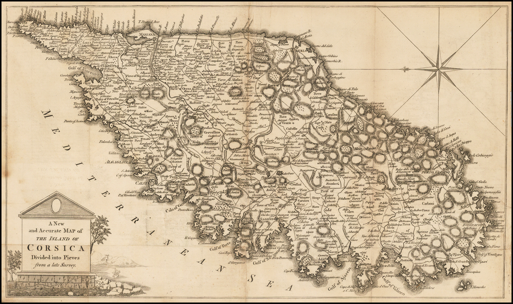 A New and Accurate Map of the Island of Corsica Divided into Pieves from a late Survey By Anonymous