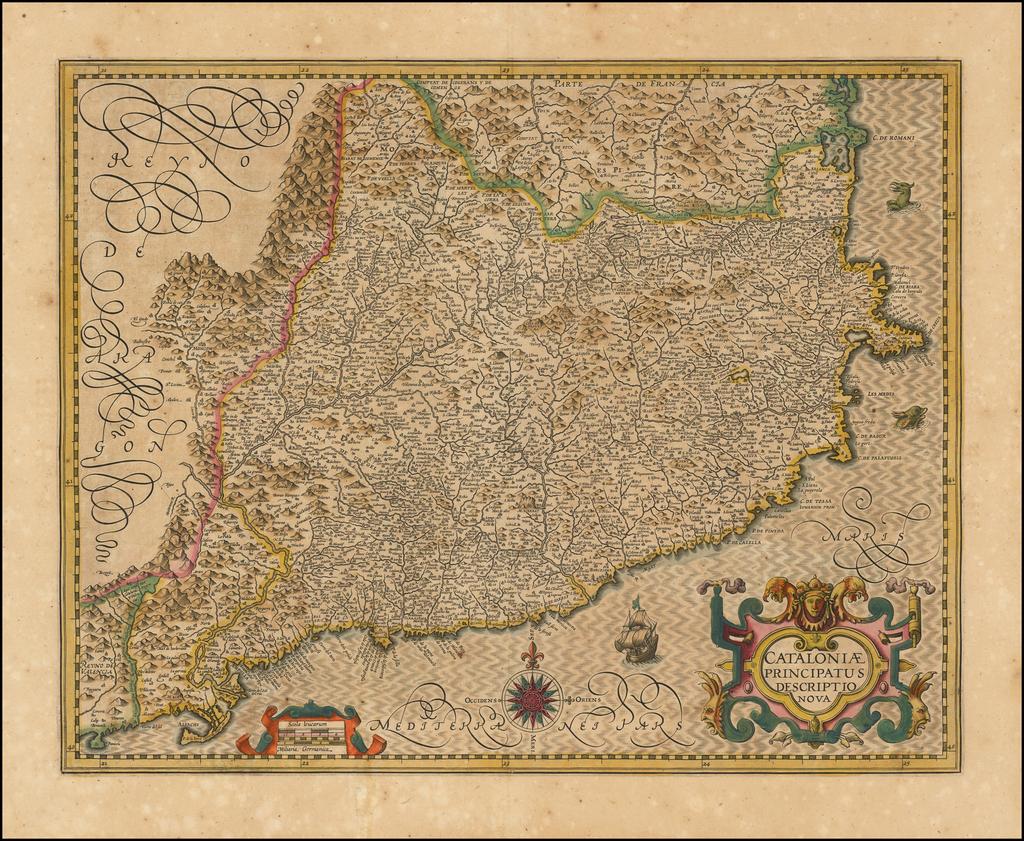 Cataloniae Principatus Descriptio Nova By Jodocus Hondius
