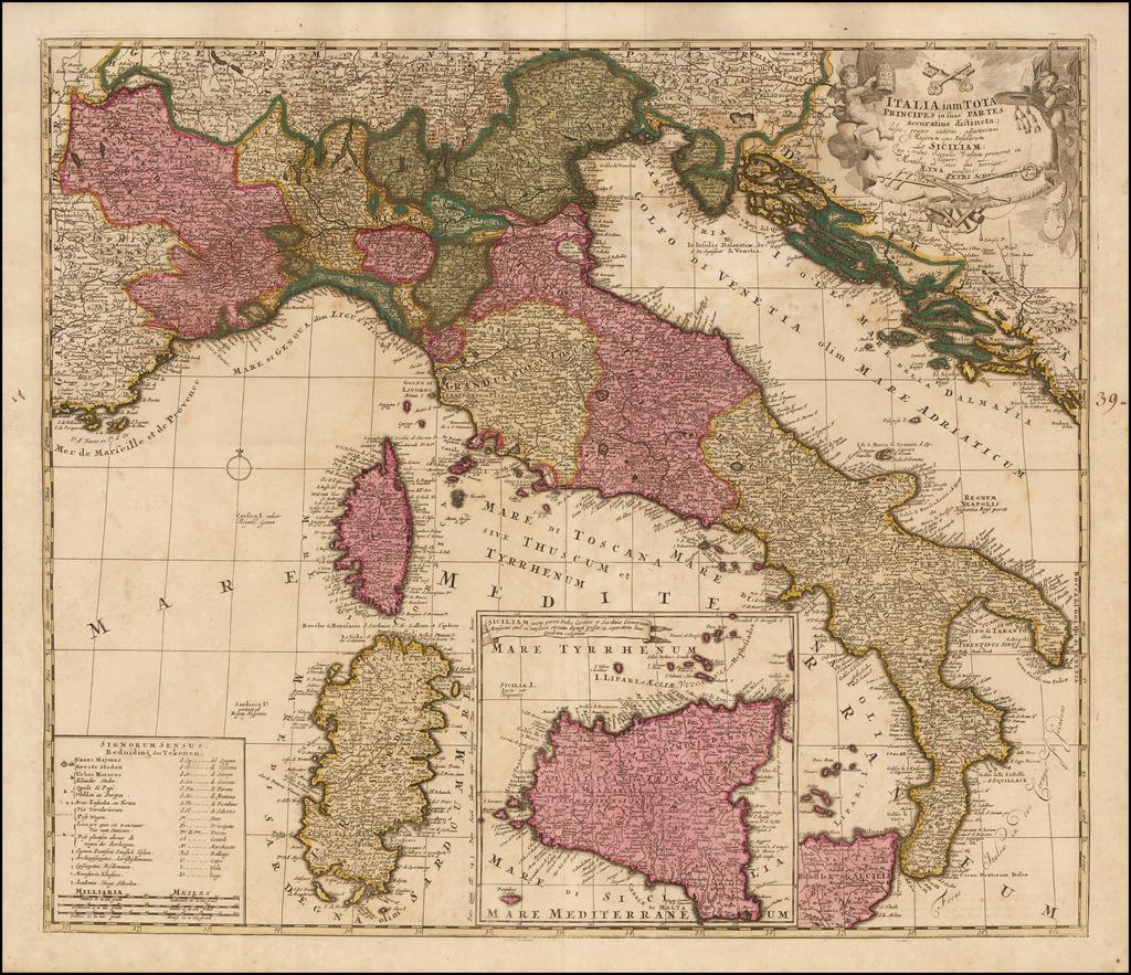 Italia iam Tota Principes in suas Partes accuratius distincta hisee, praeter caeteras adjunximus Majerum ejus Insularum Siciliam . . .  By Peter Schenk