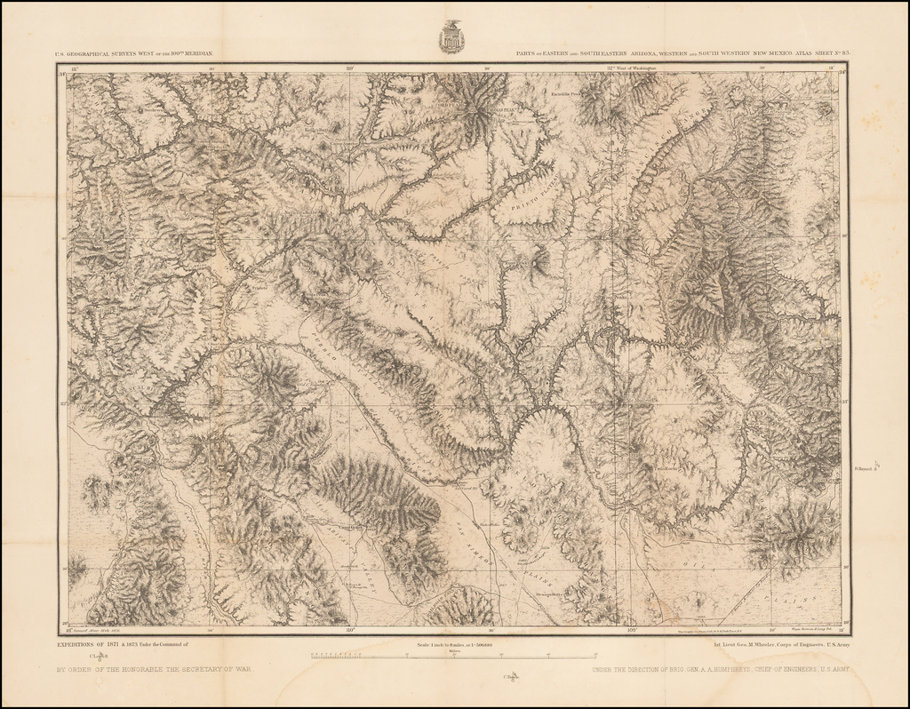 Part of Eastern and Southeastern Arizona, Western and South Western New Mexico. Atlas Sheet No. 83 By George M. Wheeler