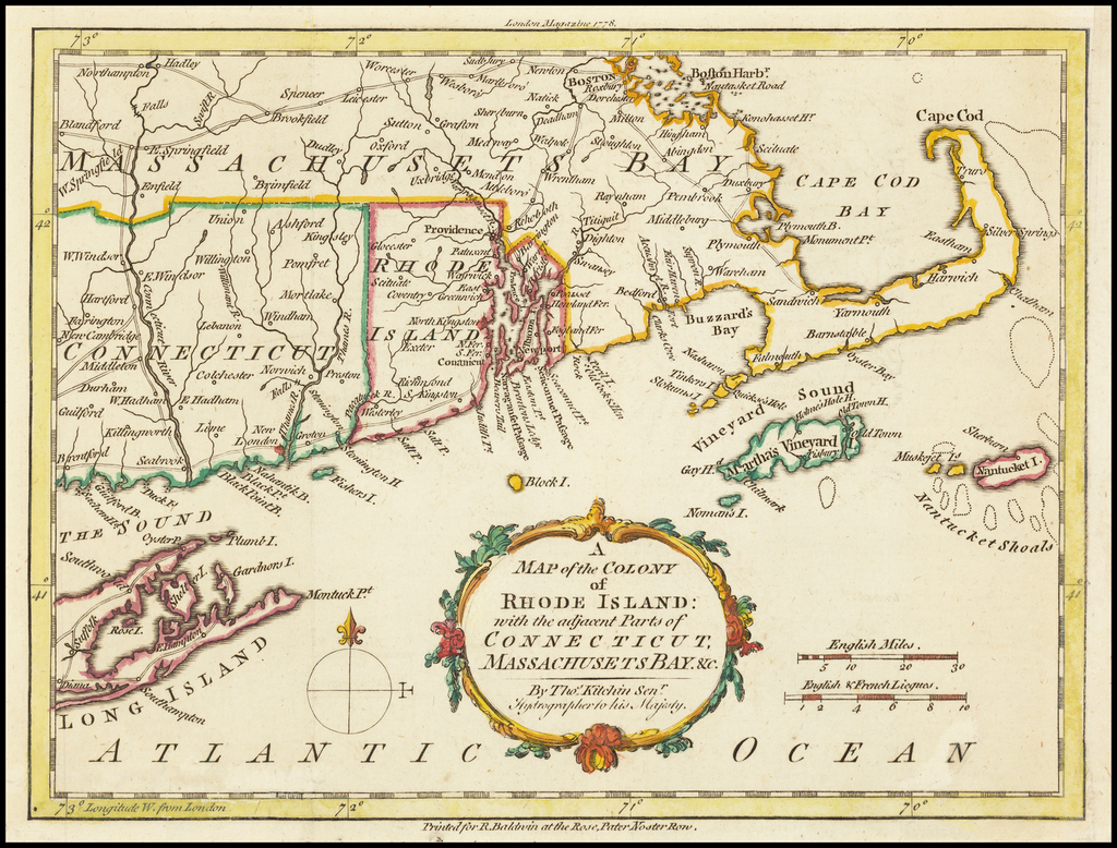A Map of the Colony of Rhode Island: with the adjacent Parts of Connecticut, Massachusetts Bay By Political Magazine