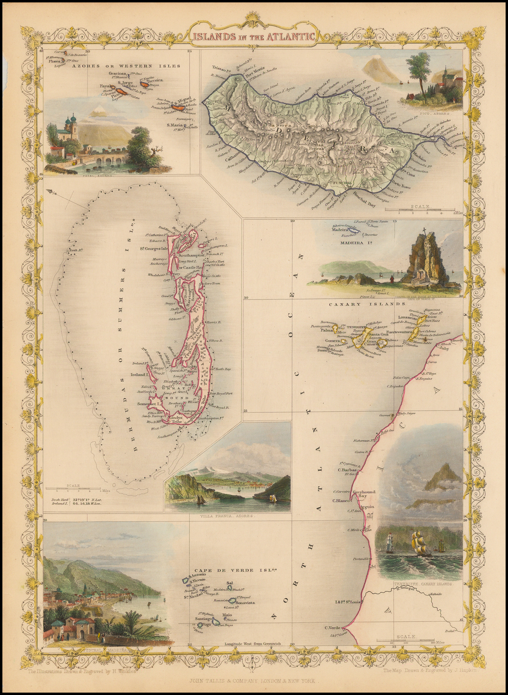 Islands in the Atlantic [Bermuda, Madeira, Canaries, Azores and Cape Verde Islands] By John Tallis