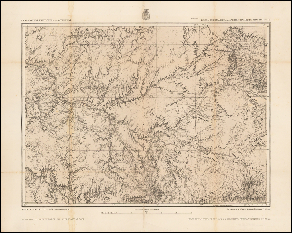 Parts of Eastern Arizona and Western New Mexico. Atlas Sheet No. 76 By George M. Wheeler