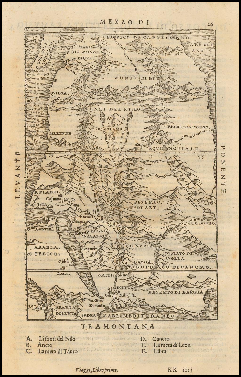 [Untitled Map Africa, Red Sea and Saudi Peninsula] By Giovanni Battista Ramusio
