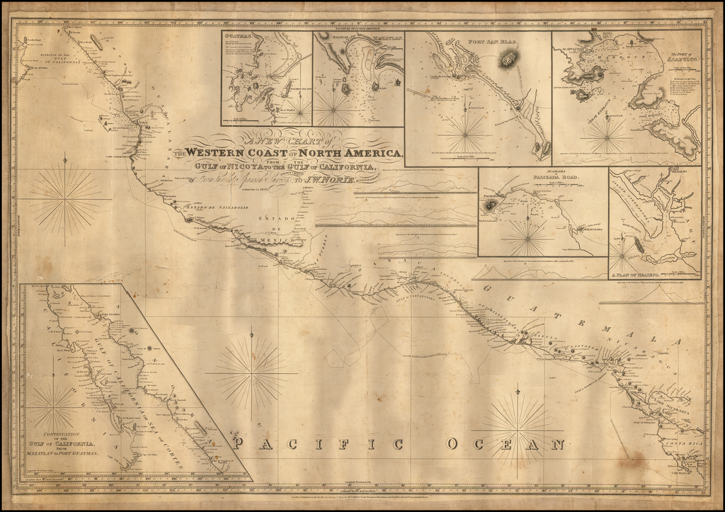 A New Chart of the Western Coast of North America from the Gulf of Nicoya to the Gulf of California, Drawn Chiefly From the late Spanish Surveys. . . By John William Norie