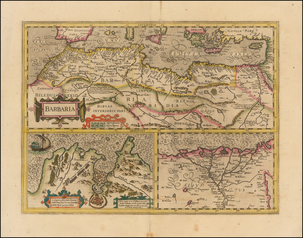 Barbaria [with] Cartaginis sive potius Tunetani celeberrimi Sinus nec non fortalitij . . . [with] [Untitled map of Egypt] By Jodocus Hondius