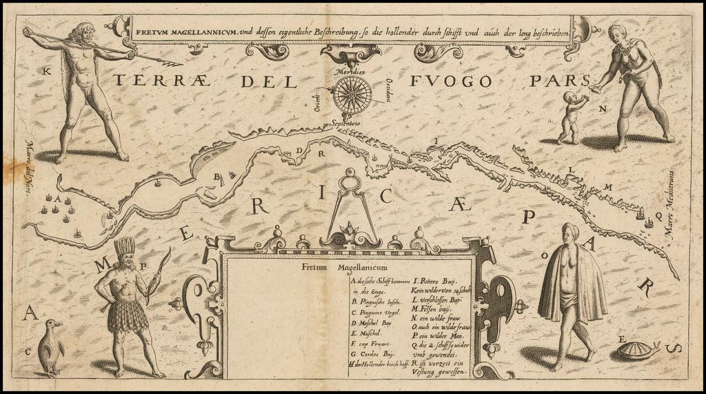 Fretum Magellannicum, und dessen eigentliche Beschribung, so die hollander durch schifft und aush der leng beschreiben By Matthaeus Merian