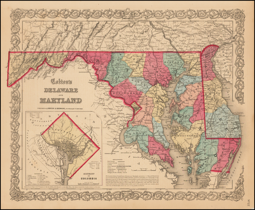 Delaware and Maryland [With Large District of Columbia Inset] By Joseph Hutchins Colton