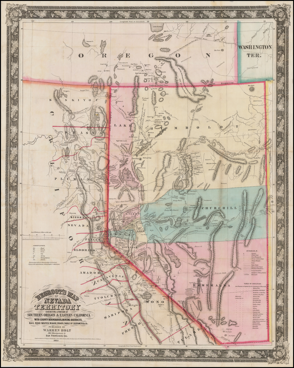 DeGroot's Map of Nevada Territory exhibiting a portion of southern Oregon and eastern California. . . 1863 (with Guide to Degroot's Map of Nevada Territory, Etc., Etc.) By Henry DeGroot