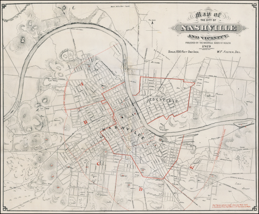 Map of The City of Nashville and Vicinity Published By The Nashville Board of Health 1879 . . .  By Tavel, Eastman & Howell