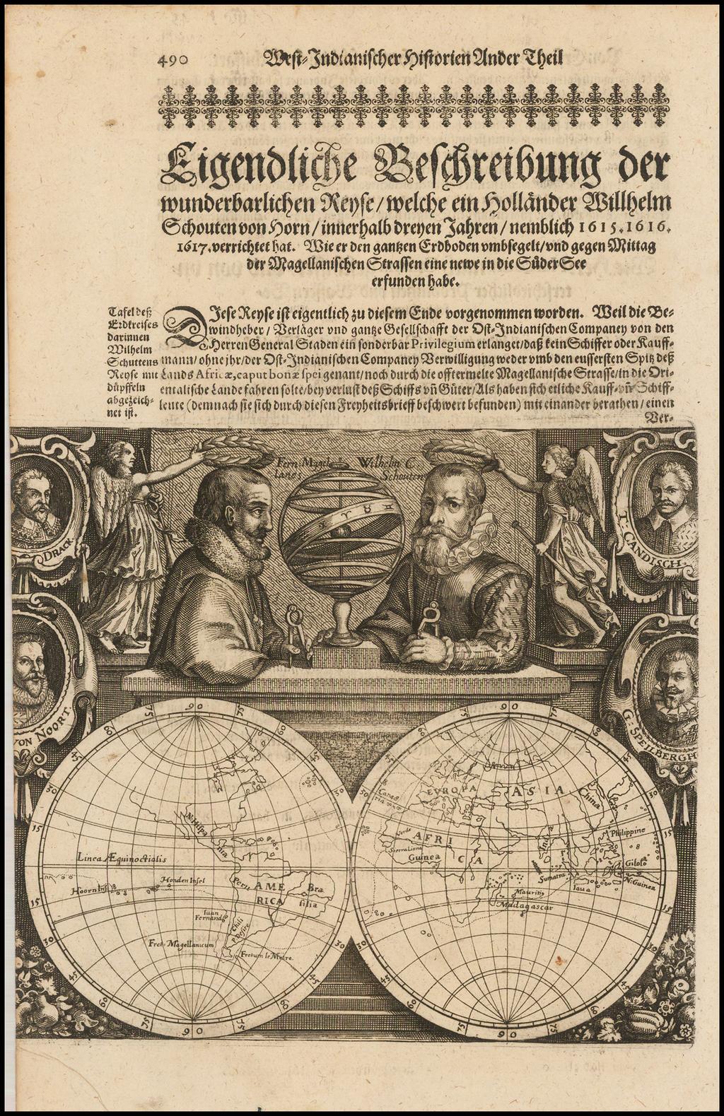 [Untitled Map -- Double Hemisphere Map with Portraits of Magellan, Schoten, Drake, Von Noort, Cavendish, and Speilbergen By Willem Janszoon Blaeu / Willem Schouten