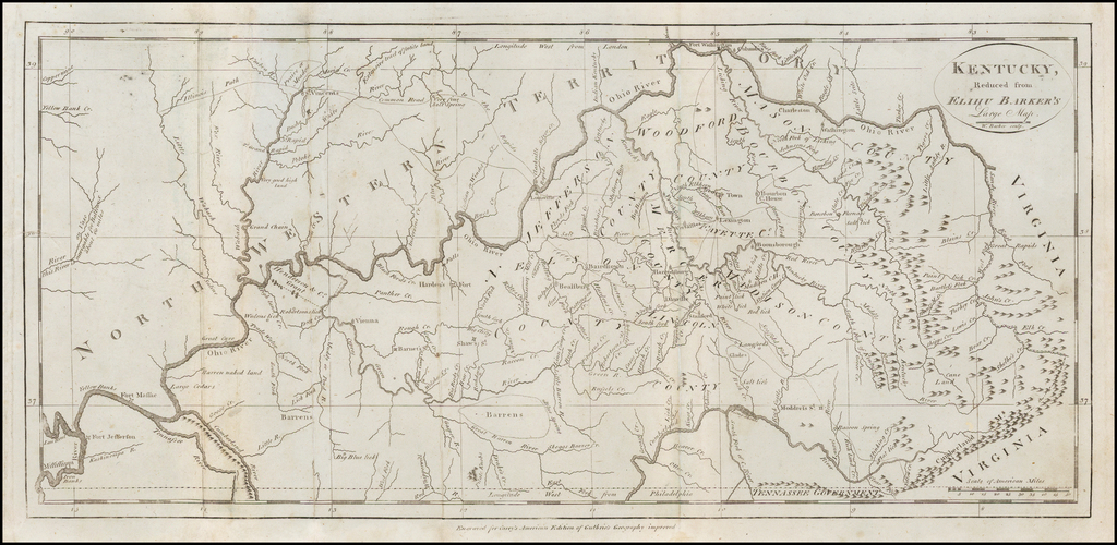 Kentucky, Reduced from Elihu Barker's Large Map. By Matthew Carey