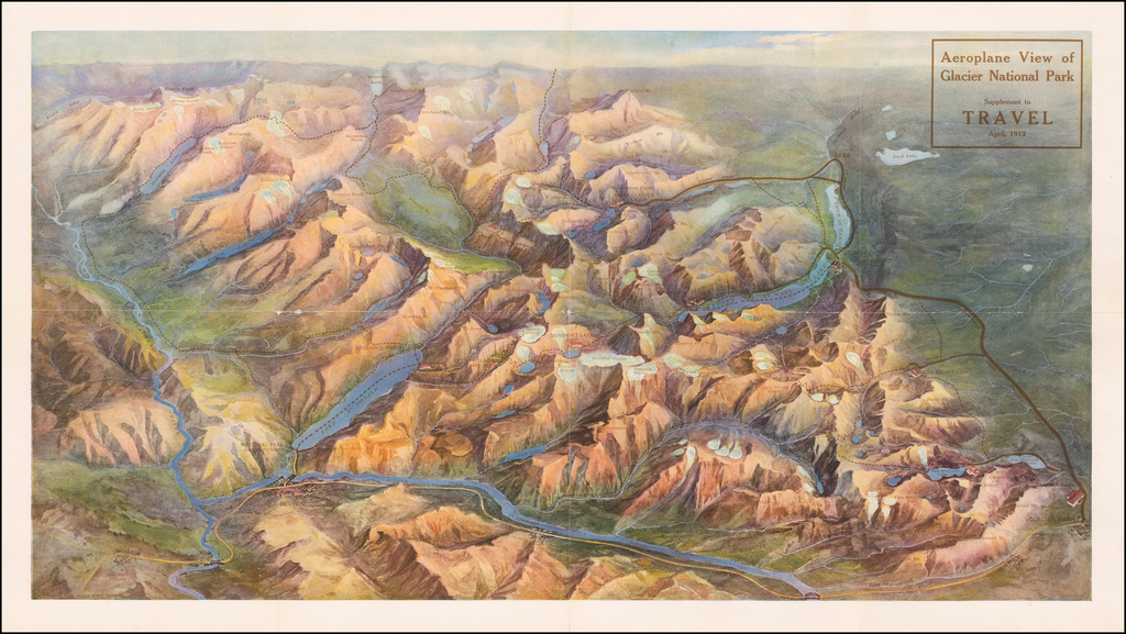 Aeroplane View of Glacier National Park . . . 1913 By Poole Brothers