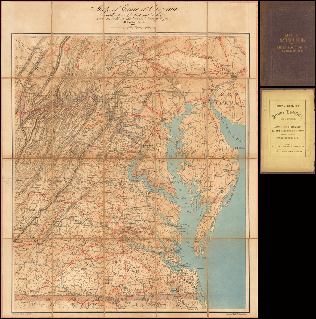 Map of Eastern Virginia Compiled from the best authorities and printed at the Coast Survey Office, A.D. Bache, Supdt.  1862 By Alexander Dallas Bache