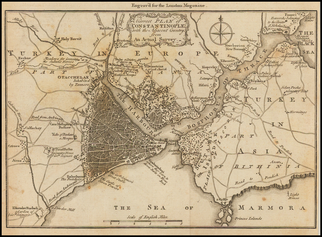 A Correct Plan of Constantinople with the Adjacent Country, from An Actual Survey  By London Magazine