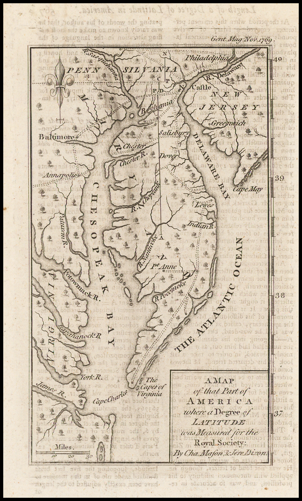 A Map of that Part of America where a Degree of Latitude was measured for the Royal Society by Cha. Mason & Jere: Dixon By Gentleman's Magazine
