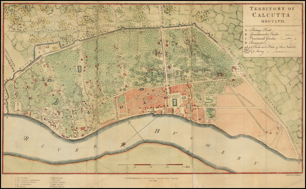 Territory of Calcutta MDCCLVII By Surveyor General of India