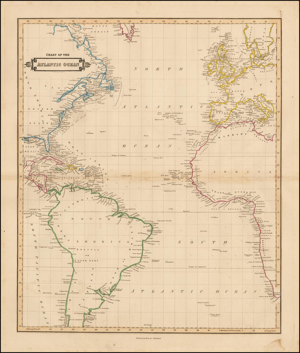 Chart of the Atlantic Ocean  By William Home Lizars