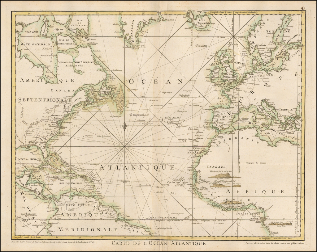 Carte de L'Ocean Atlantique By Jean Lattre