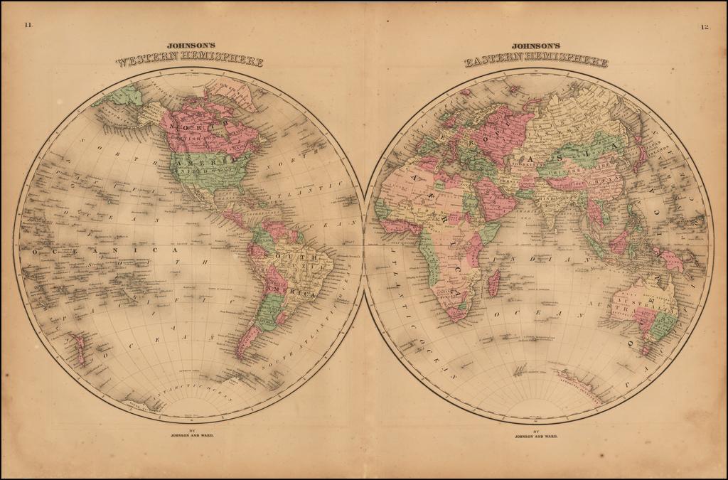 Johnson's Western Hemisphere & Johnson's Eastern Hemisphere By Benjamin P Ward / Alvin Jewett Johnson