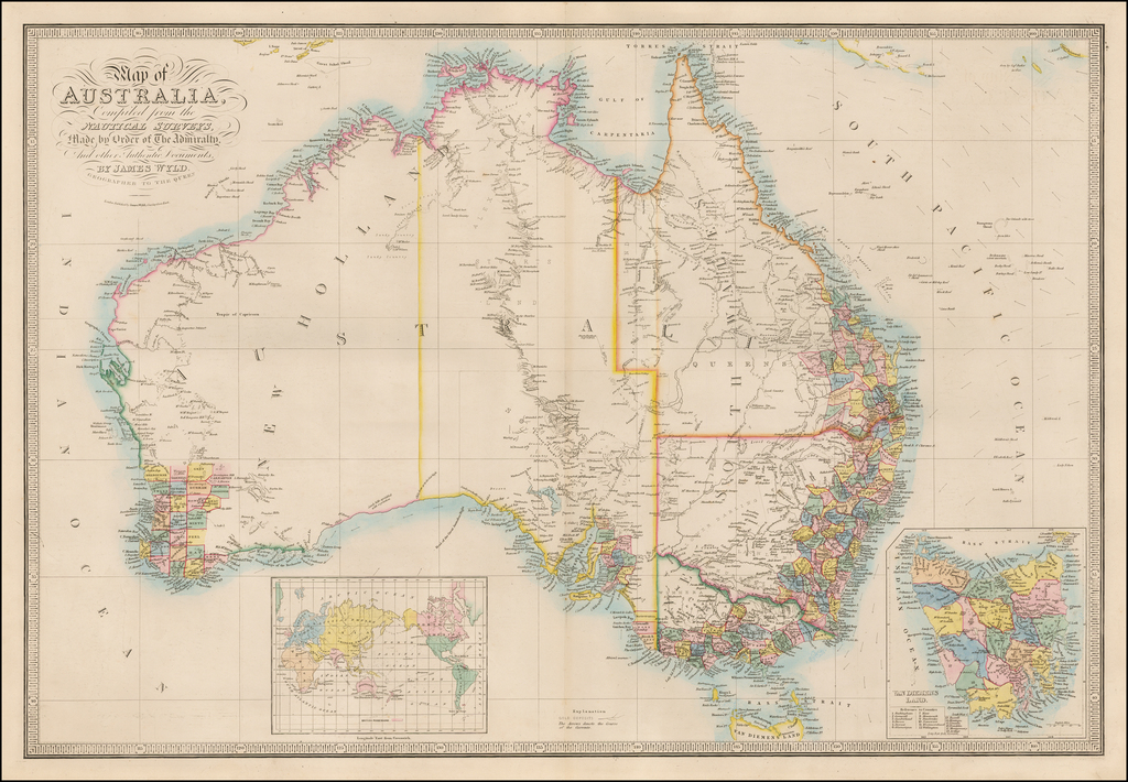 Map of Australia, Compiled from the Nautical Surveys, Made by Order of the Admiralty, and other Authentic Documents. By James Wyld