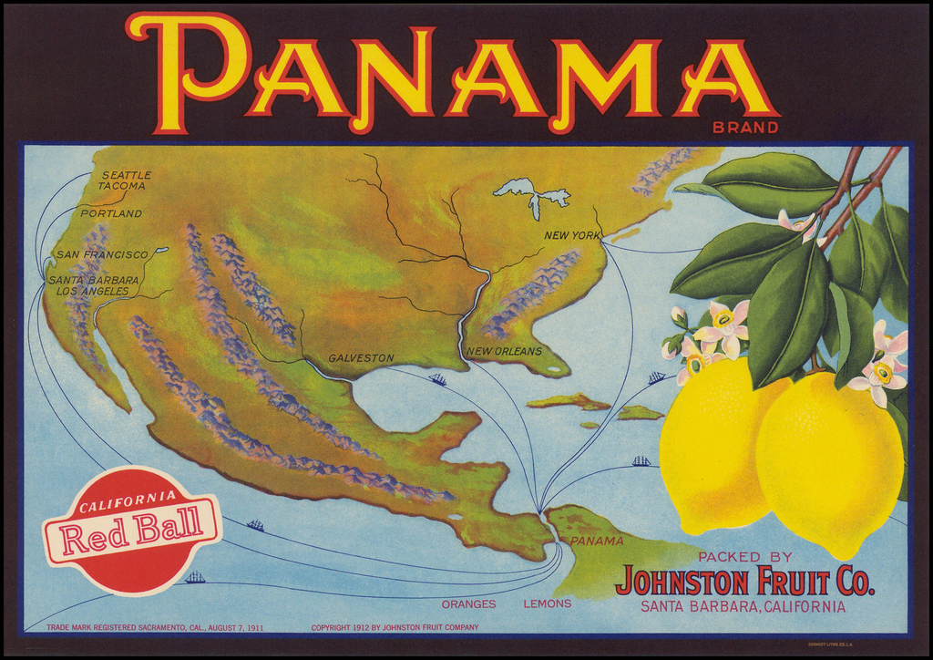 [Fruit Crate Label Advertising Map]  Panama Brand  (North America & Panama Canal) By Schmidt Label & Litho. Co.