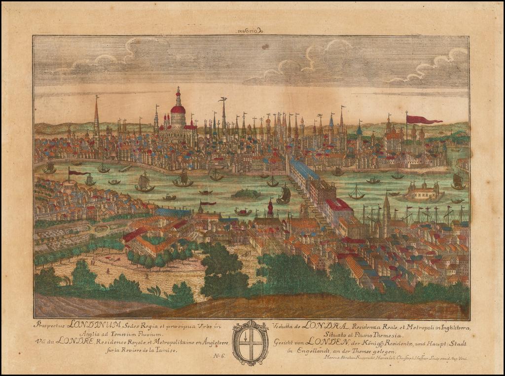 Prospectus Londinum, Sedes Regia, et praecipua Urbs in Anglia ad Temesium Fluvium . . .  By Johanne Christoph Haffner / Marcus Abraham Rupprecht
