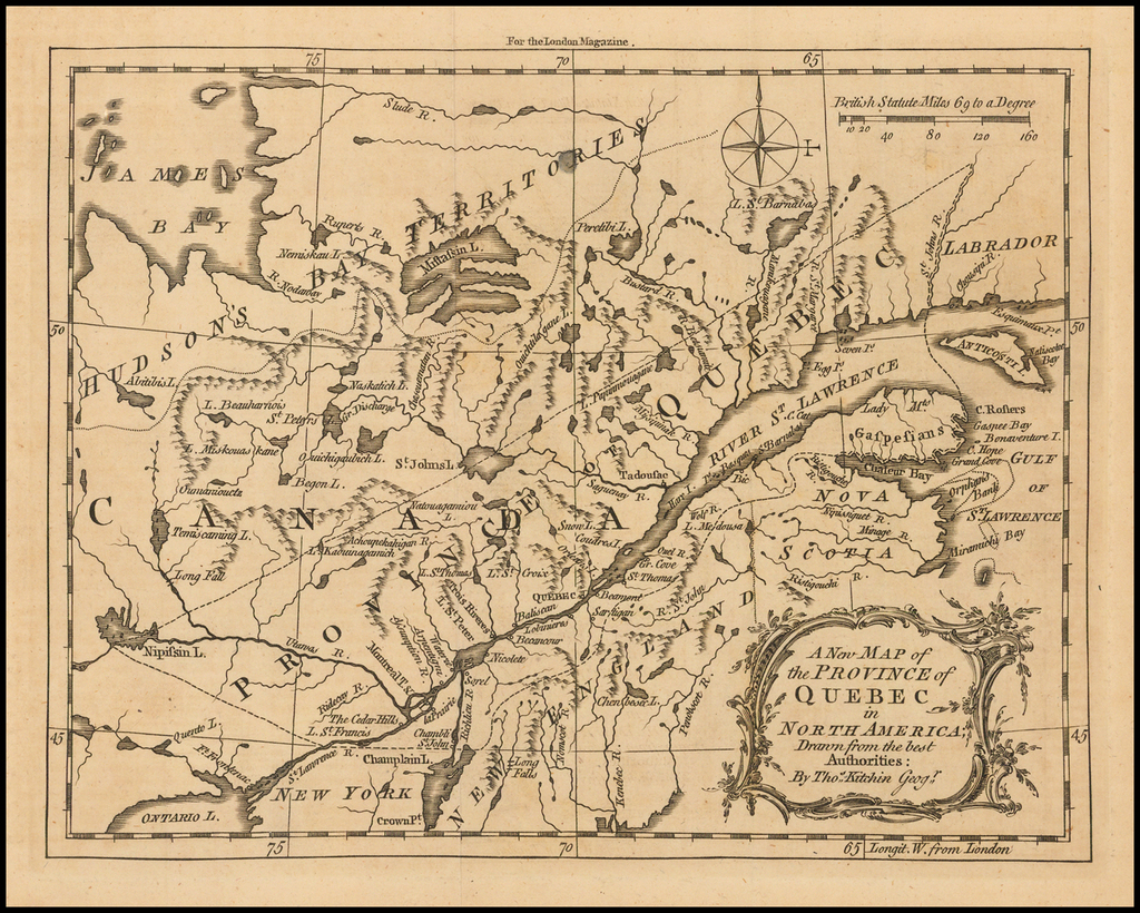 A New Map of the Province of Quebec in North America; Drawn from the Best Authorities . . .  By London Magazine