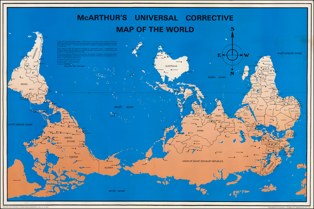 Australia On Map Of World.Mcarthur S Universal Corrective Map Of The World Barry Lawrence
