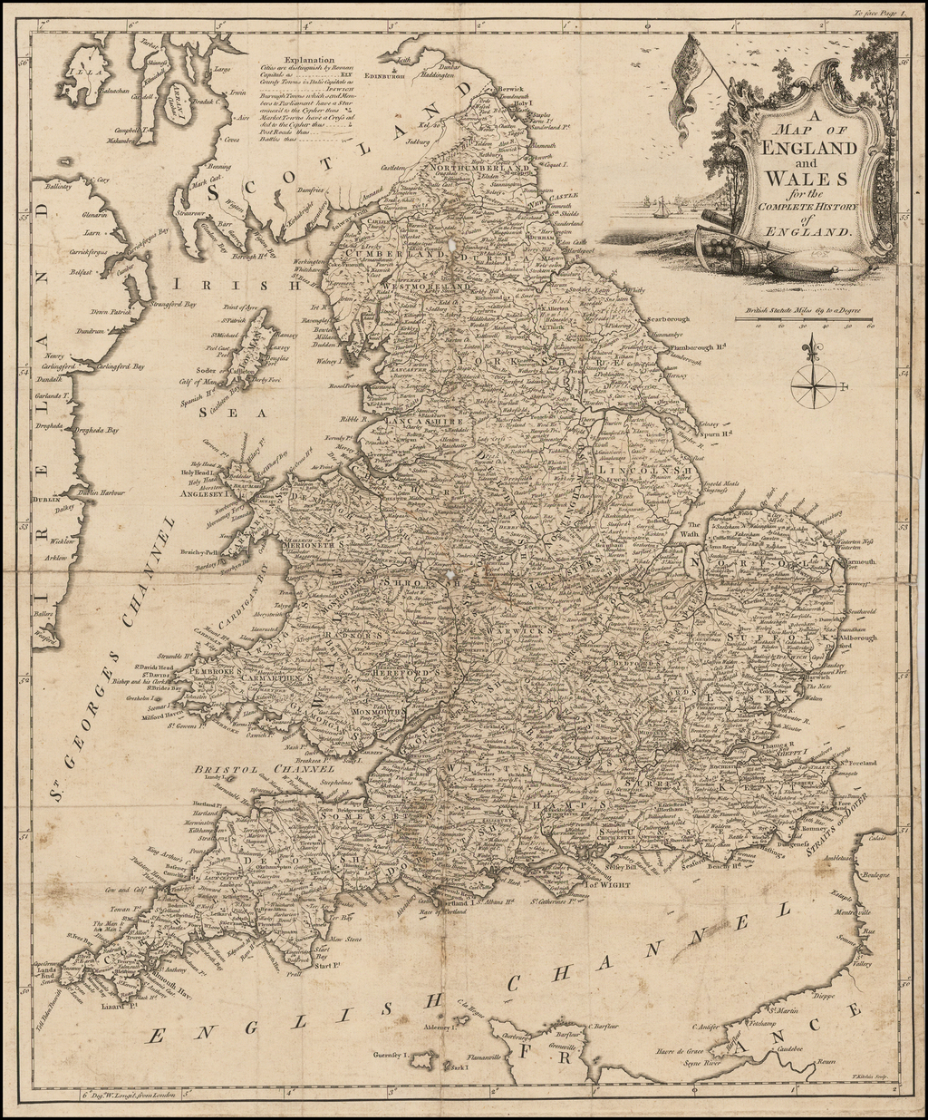 A Map of England and Wales for the Complete History of England By Thomas Kitchin