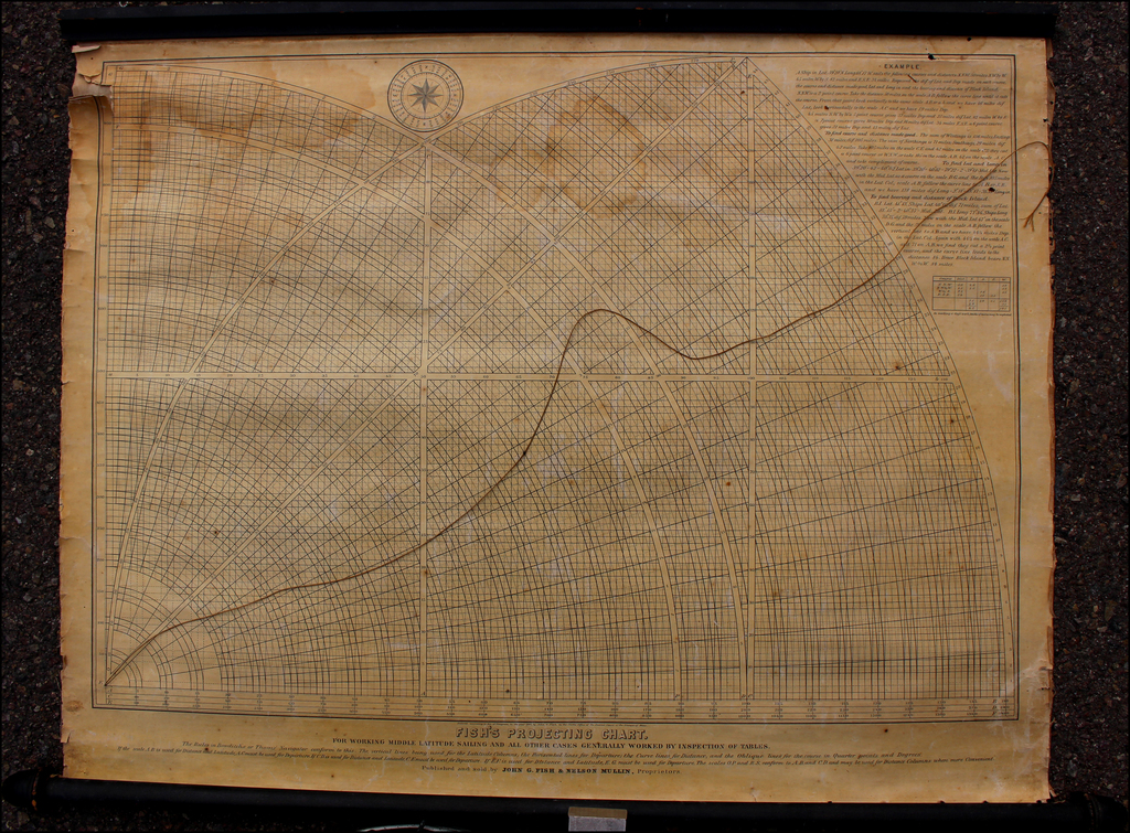 Fish's Projecting Chart  For Working Middle Latitude Sailing and All Other Cases Generally Worked by Inspection of Tables. By John G. Fish  &  Nelson Mullin