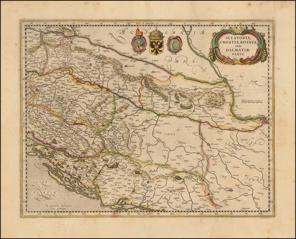 Sclavonia, Croatia, Bosnia, cum Dalmatiae cum Dalmatiae Parte By Jodocus Hondius
