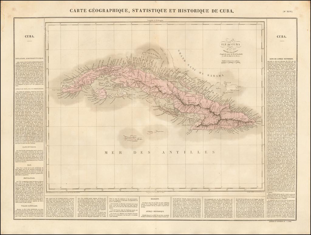 Carte Geographique, Statistique et Historique Du Cuba By Jean Alexandre Buchon