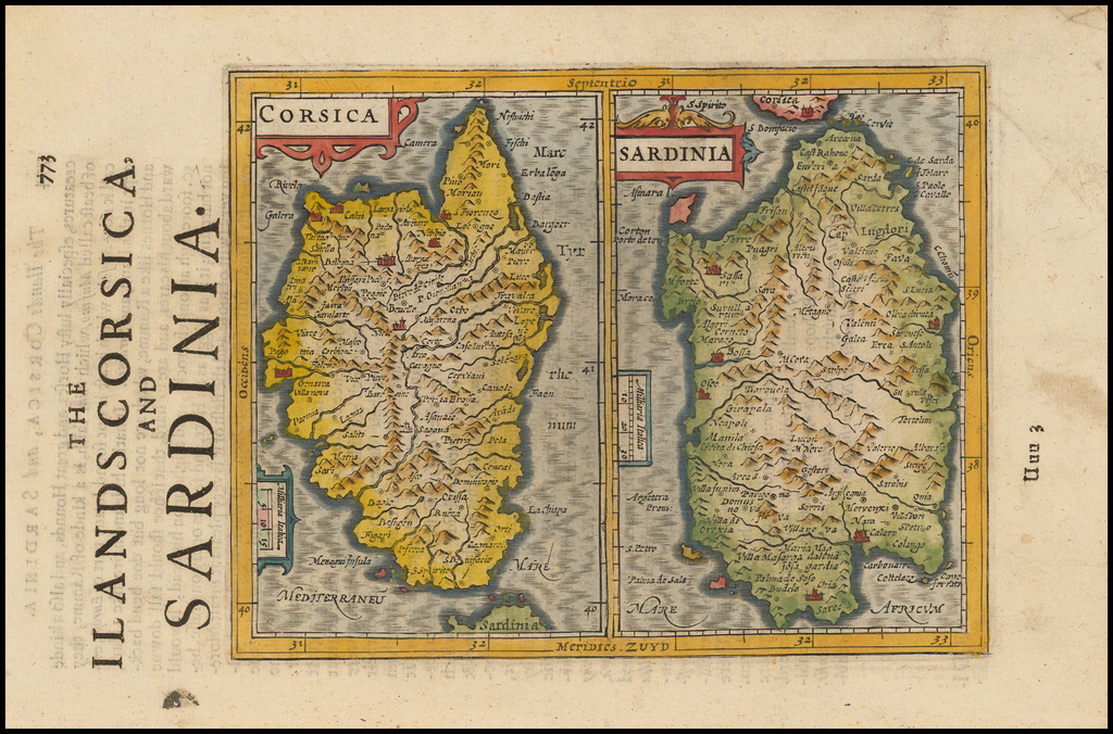 Corsica [and] Sardinia By Jodocus Hondius - Gerhard Mercator