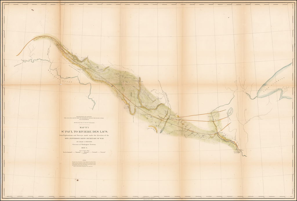 Map No. 1  St. Paul to Riviere Des Lacs: from Explorations and Surveys . . . By Isaac Stevens Governor of Washington Territory By U.S. Pacific RR Survey