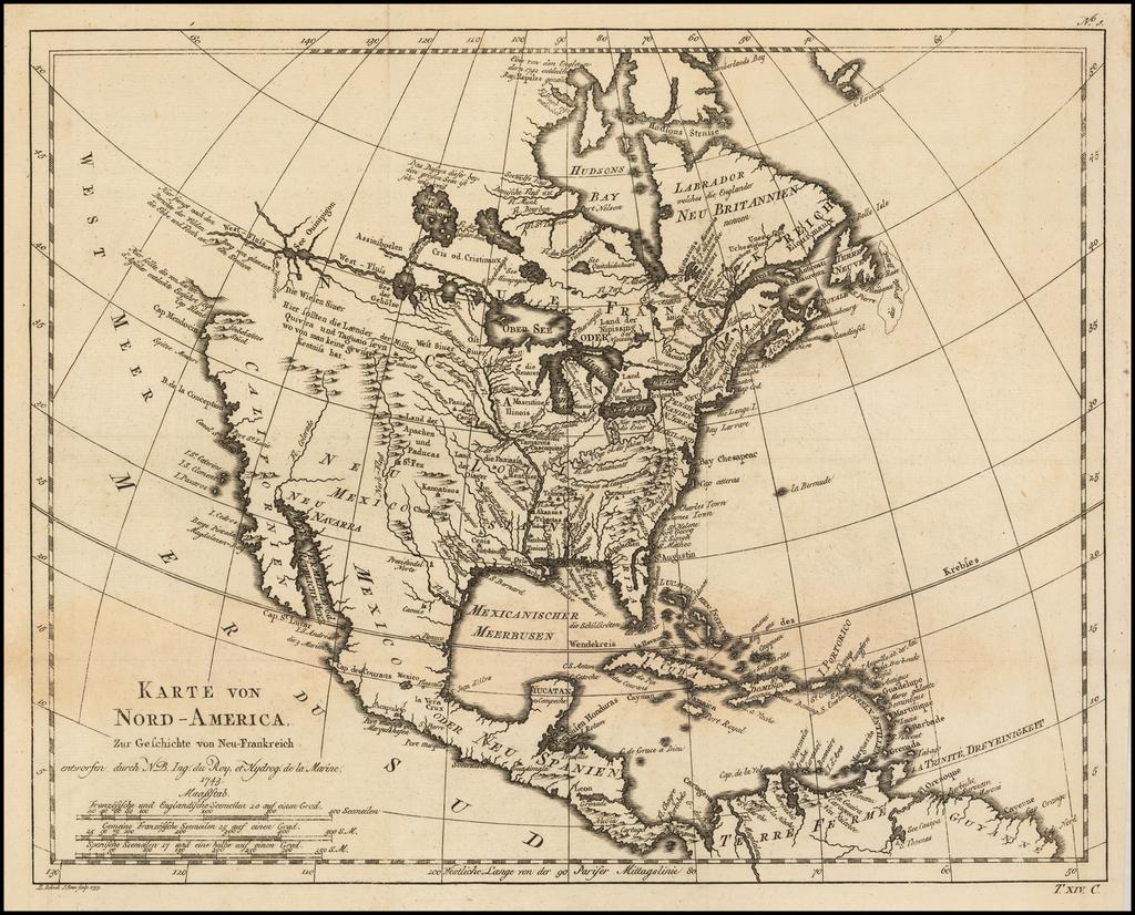 Karte von Nord-America, zur Geschichte voh Neu Frankreich . . . 1743 By Jacques Nicolas Bellin