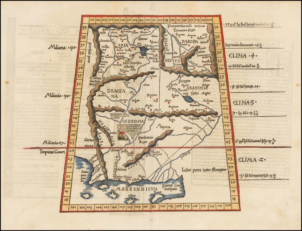 Tabula IX Asiae [Pakistan & India] (Title on Verso) By Lorenz Fries