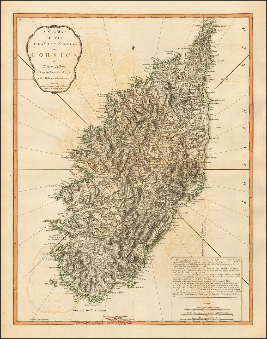 A New Map of the Island and Kingdom of Corsica By Thomas Jefferys, Geographer to the King. By Thomas Jefferys / Laurie & Whittle