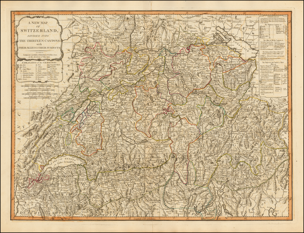 A New Map of Switzerland Divided into Thirteen Cantons With Their Allies & Their Subjects By Laurie & Whittle
