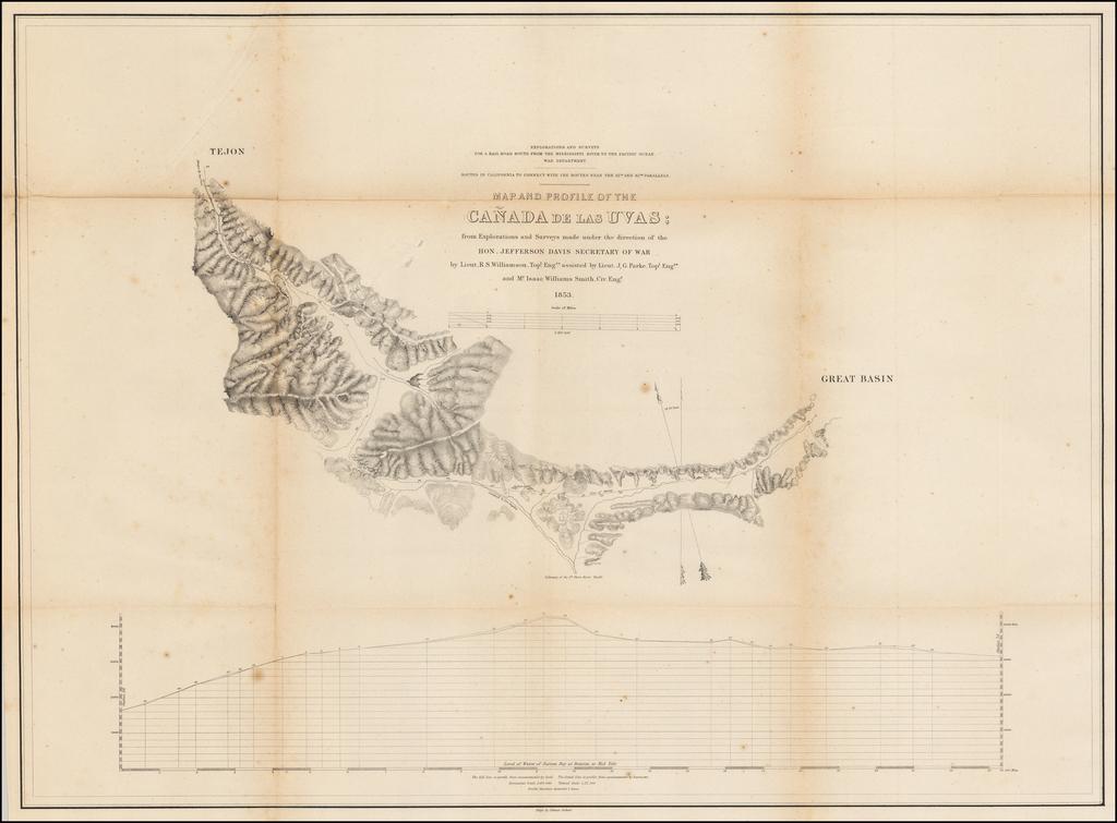 Map of Profile of the Cañada de las Uvas; from Explorations and Surveys . . . 1853 By U.S. Pacific RR Survey